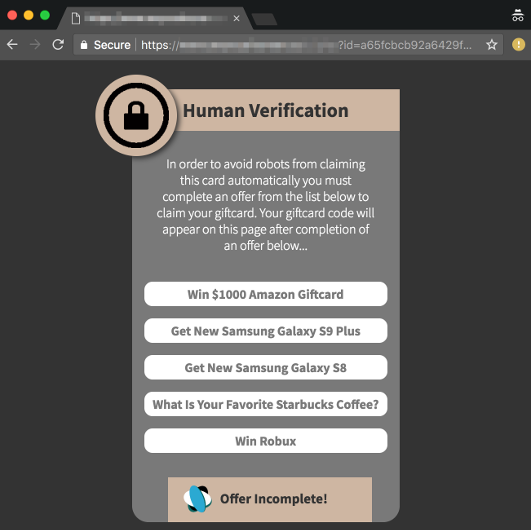 Typical 'Human Verification' Page Involved In Most Affiliate Based Spam