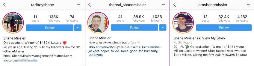 The top three Shane Missler impersonation accounts on Instagram